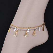 Foot Jewelry Silver & Gold-Color Anklets Leg Chain Bracelet for Women Pave Cubic Zirconia Alabash Shape Anklet Dropshipping(China)