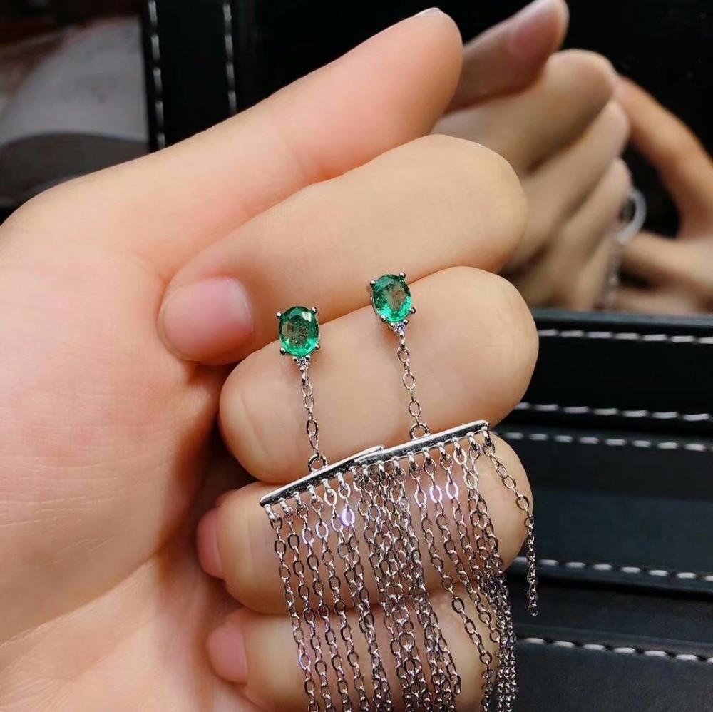 shilovem 925 sterling silver real Natural Emerald Drop Earrings fine Jewelry women trendy wedding gift jce040599agml in Earrings from Jewelry Accessories