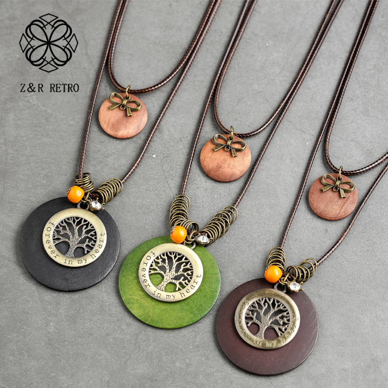 Round Plant Pendant Jewelry For Women Handmade Necklace Neck Long Chain Zinc Alloy Women Accessories Big Necklace Collier Femme