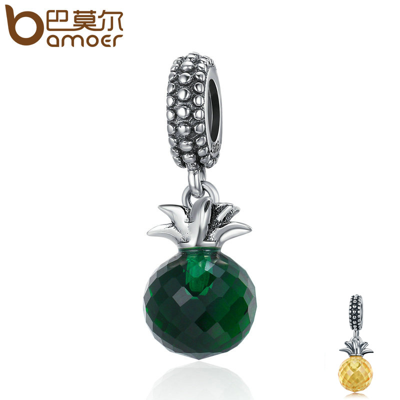 BAMOER Genuine 925 Sterling Silver 2 Colors Summer Pineapple Pendant Charms fit Women Charm Bracelets & Necklaces jewelry SCC358