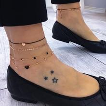 JCYMONG 4 шт./компл. Boho золото Цвет сердце Сандалеты с перепонкой на лодыжке для женский, черный веревочный браслет-цепочка на лодыжку на ноги, ювелирное изделие, подарок