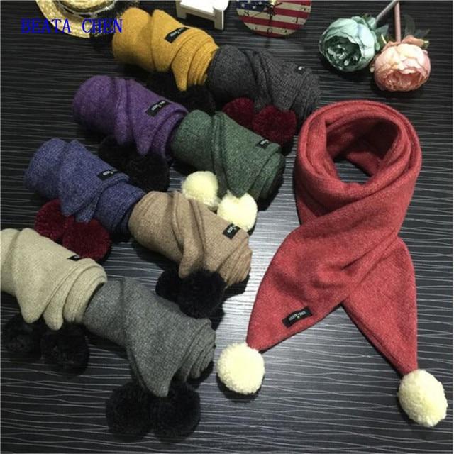 Беата Чен Зима Детские Теплый шарф прекрасный меховой помпон трикотажные вязаный крючком шарф Для детей мальчиков кольца для девочек Теплые шарфы