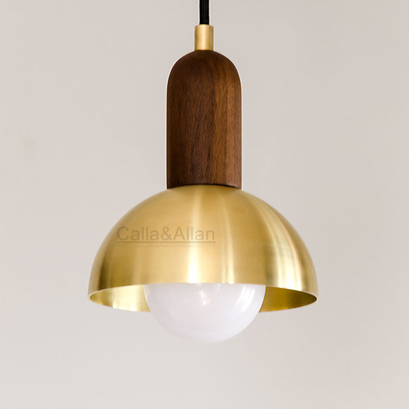 Brass half round ball shade pendant light LED vintage copper wooden lighting fixture brass wood fabric wire pendant lamp