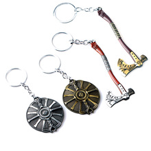 цена J Store God of War 4 Kratos Keychains Cratos Leviathan Axe ax model llaveros vintage silver Key chain for men game fans souvenir онлайн в 2017 году