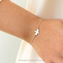 bracelets 10PCS- B044 Tiny Peace Dove Bracelets Little Swallow Baby Bird Bracelets Soar Flying Bird Bracelet Abstract Bracelets