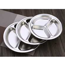 1pc Stainless Steel Dinner Plate 3 Sections Divided Dish 22 / 24 / 26cm Round Snack  sc 1 st  AliExpress.com & Buy silver dinner plates and get free shipping on AliExpress.com