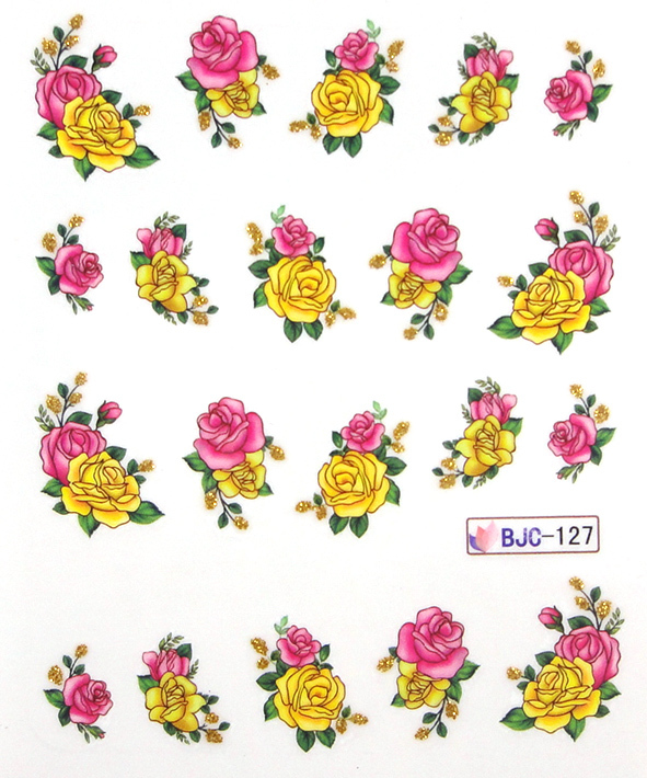 11 Designs Gold Glitter Nail Art Flower Water Transfer Stickers For