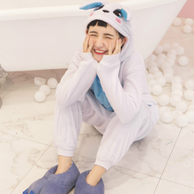 Adult Anime Kigurumi Onesies Blue Rabbit Costume For Women Men Funny Warm Soft Animal Imp Onepieces Sleepwear Home Cloths Girl