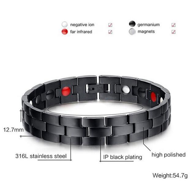 Men's Black Bracelet Bangle Magnetic Health Chain