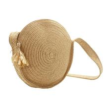 Round Straw Braided Bag Wholesale Natural Fashion Pure Color Woven Handmade Messenger For Women Brand New