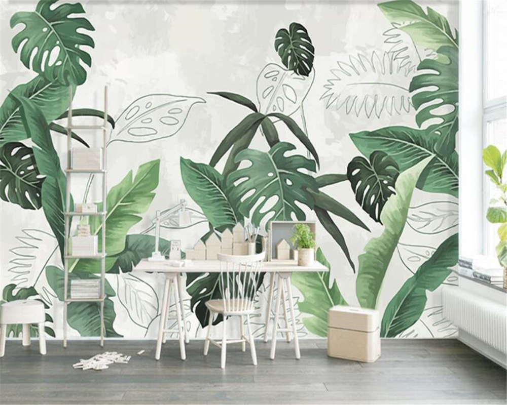 beibehang Custom wallpaper mural retro fresh palm banana leaves living room TV background wall 3d wallpaper papel de parede