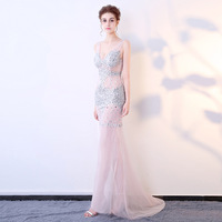 Sexy Blush Pink V neck Backless Vestidos De Festa Crystal Beading See Through Mermaid Formal Evening Dresses Prom Party Gowns