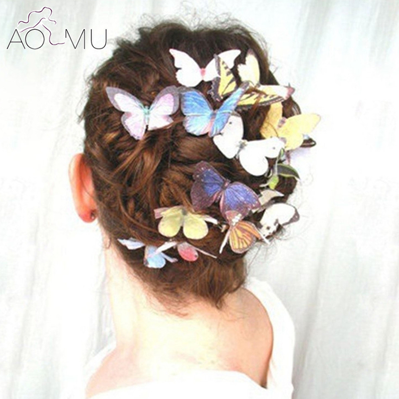 AOMU 10Pcs/lot Bohemian Lovely Butterfly Hair Clips Headdress for Women Bridal Wedding Prom   Headwear   Accessories Jewelry