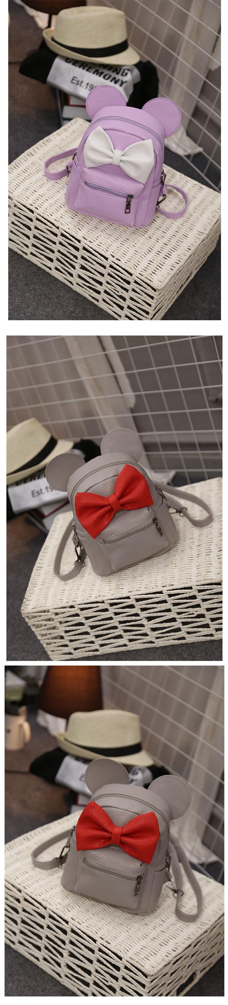 2018 New Mickey Backpack Pu Leather Female Mini Bag Women's Backpack Sweet Bow Teen Girls Backpacks School Bag Lady Shoulder bag