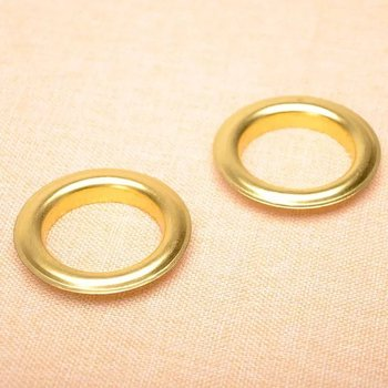 Metal Eyelets Grommets With Washers Gold Plated Metal, 40mm Barrel Diameter, Pack of 100 sets