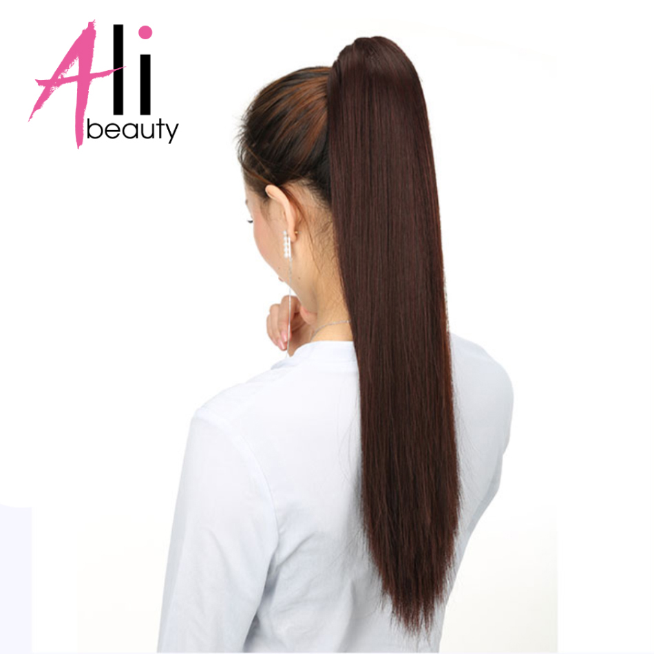 ALI BEAUTY 100% Human Hair Ponytails Remy European Straight Clip In Hair Extensions 80g 100g Wrap Around Ponytail Wig
