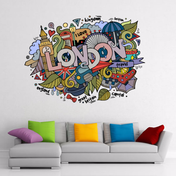 I Love London UK Britain Illustration Fashion Wedding Decor Vinyl Waterproof Wall Sticker Wallpaper Wall Decal Baby Rooms Decor