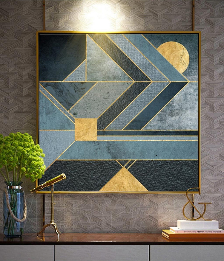 Us 9 11 Nordic Geometric Abstract Canvas Painting Blue Color Gold Thread Home Decor On Modern Wall Prints Art Work No Frame In