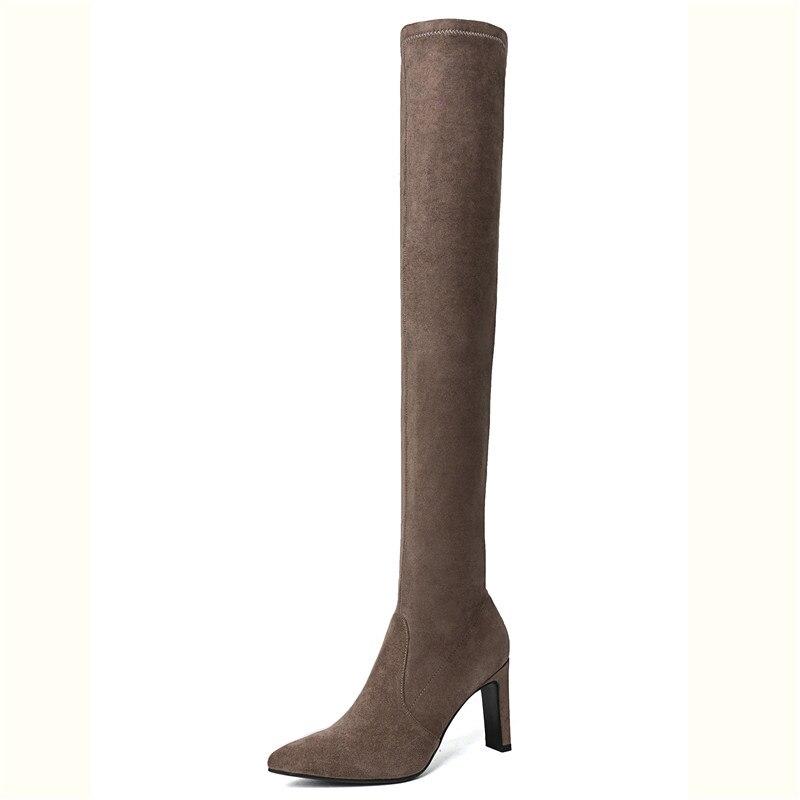 6e6428761b0d46 Mode Talons De 34 Mince Taille Chaussures Décontractées 40 Cr1116 D'hiver  Enmayer Bottes gray Black Bout Femme Zipper ...