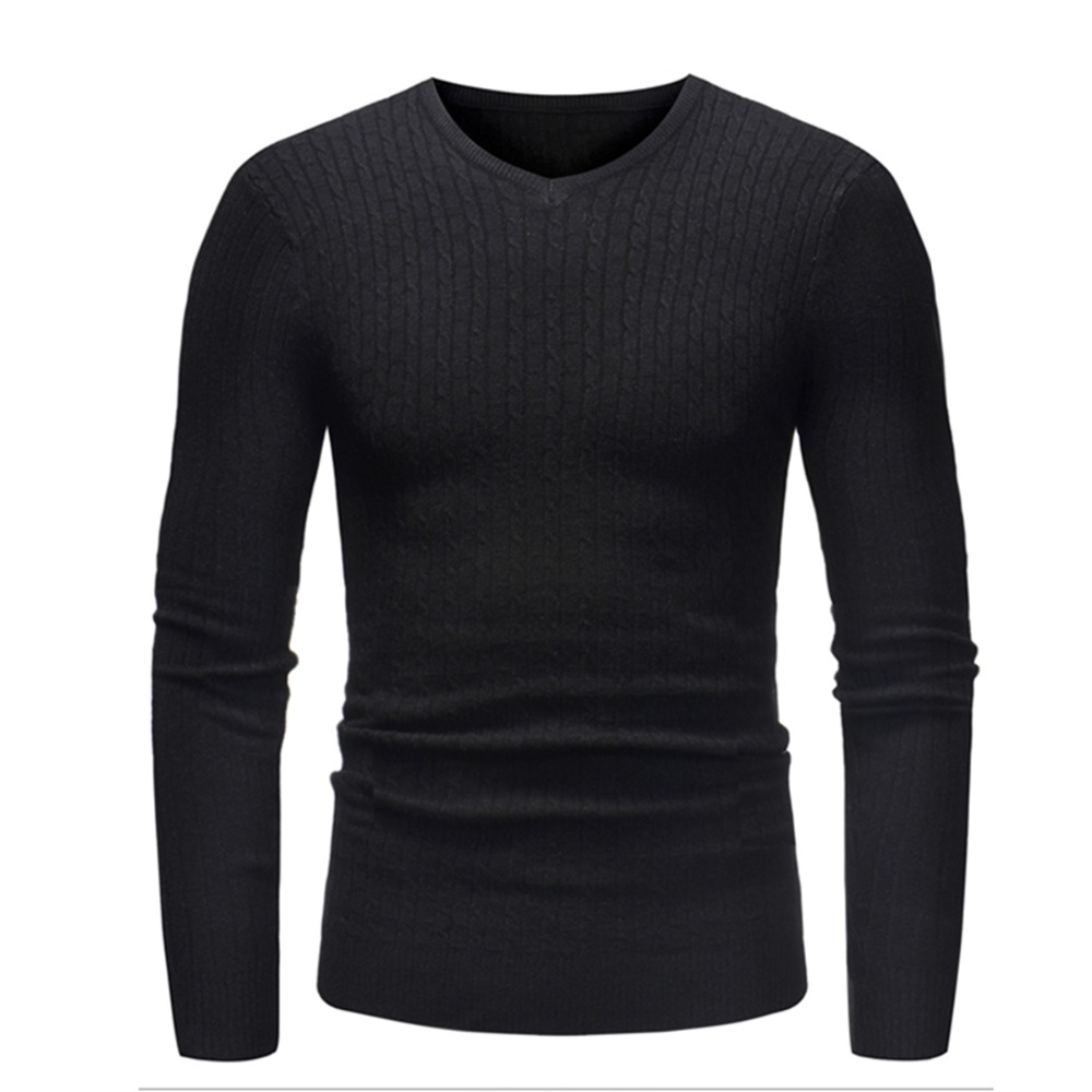 2018 New Autumn Winter Men Sweater Men Solid Color V-neck Casual Sweater Men's Slim Fit Thin Brand Knitted Pullovers