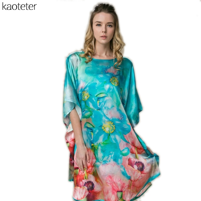 100% Mulheres De Seda de Seda Real Solto Homewear Loungewear Noite Saia Uma Peça Plus Size Camisolas de Desgaste Casa Pintados À Mão YBP149