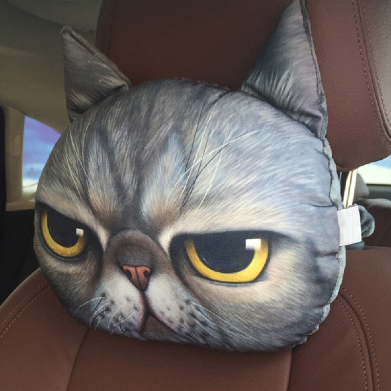 New Cool Lovely 3D Printed Animals Face Car Headrest Pillowcase Seat Covers Neck Auto Safety Headrest Supplies Without Filling