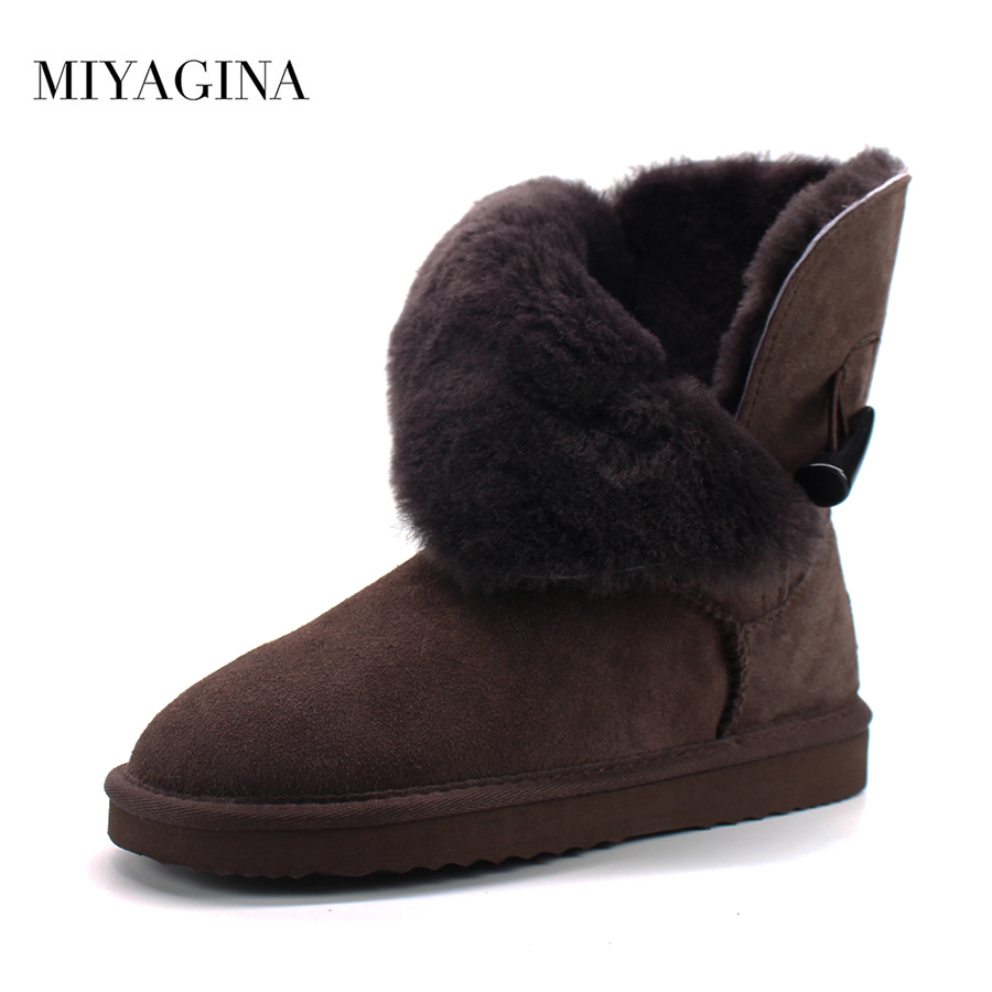 New Arrival 100% Real Fur Classic Mujer Botas Waterproof Genuine Cowhide Leather Snow Boots Winter Shoes for Women 2015 winter new arrival australia classic warm boots genuine leather handmade rhinestones diamond 3d flower women snow boots