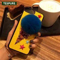 YESPURE Ice Cream Cứng Bìa Cho Iphone 7 8 Sao Thiết Kế vàng Lông Bóng Bảo Vệ Đầy Đủ Điện Thoại Di Động Trường Hợp Món Quà Đặc Biệt Cho phụ n