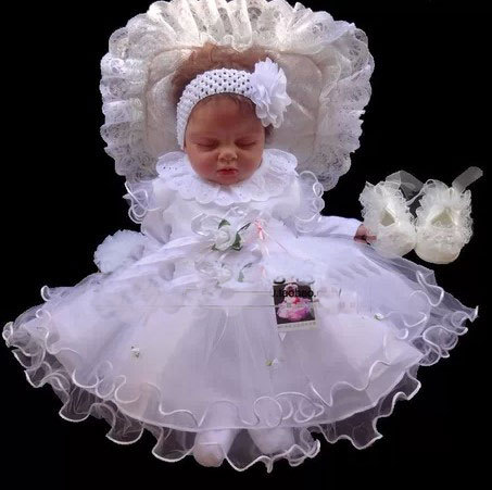 New Design High Quality Baby Girl Christening Gown Wedding Dresses Newborn Formal Baptism Dress Set Free Shipping 051