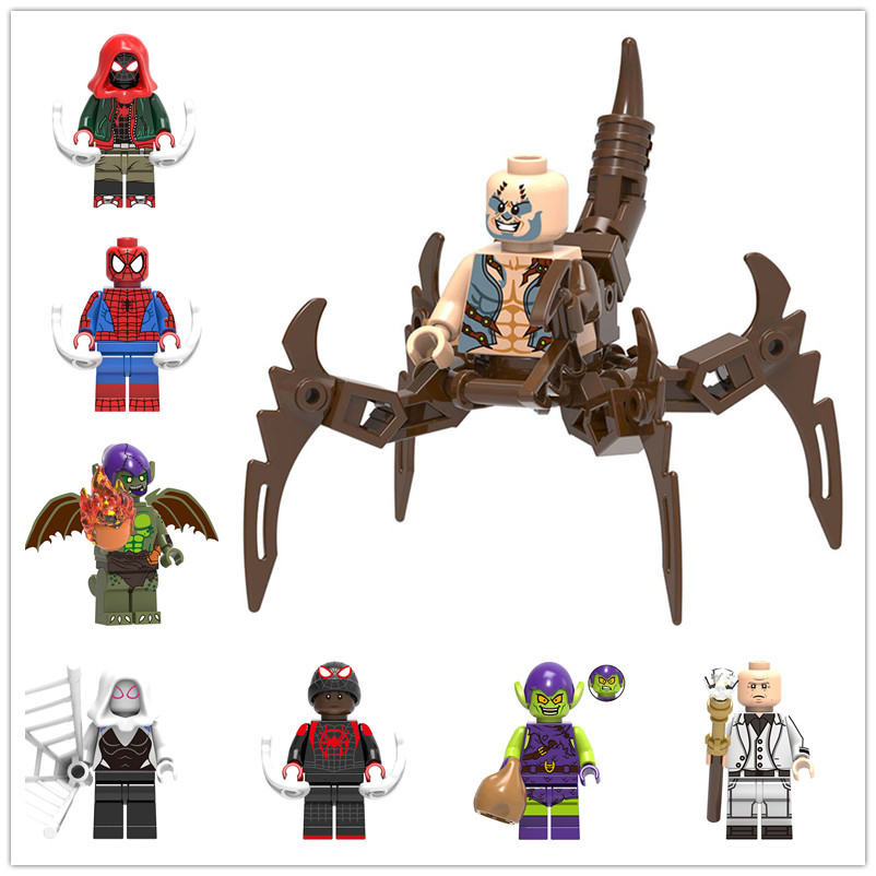 Rational 8pcs/set Legoing Minifigured Super Heros Scorpion Miles Morales Kingpin Spider-man Building Blocks Model Bricks Kids Toys X0241 Novel In Design;