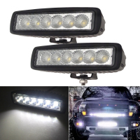 2pcs 6 Inch Spot Flood Single Row Slim 18W 4x4 Truck Offroad Car LED Work Light