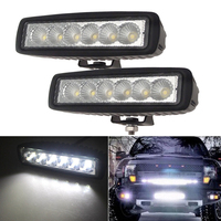 2pcs 6 Inch Spot Flood Single Row Slim 18W 4x4 Truck Offroad Car LED Work Light