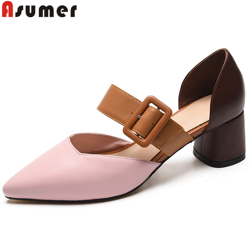 ASUMER 2019 new pumps shoes for women pointed toe mixed colors ladies shoes shallow high heels genuine leather prom shoes 2019 ASUMER 2019 new pumps shoes for women pointed toe mixed colors ladies shoes shallow high heels genuine leather prom shoes 2019