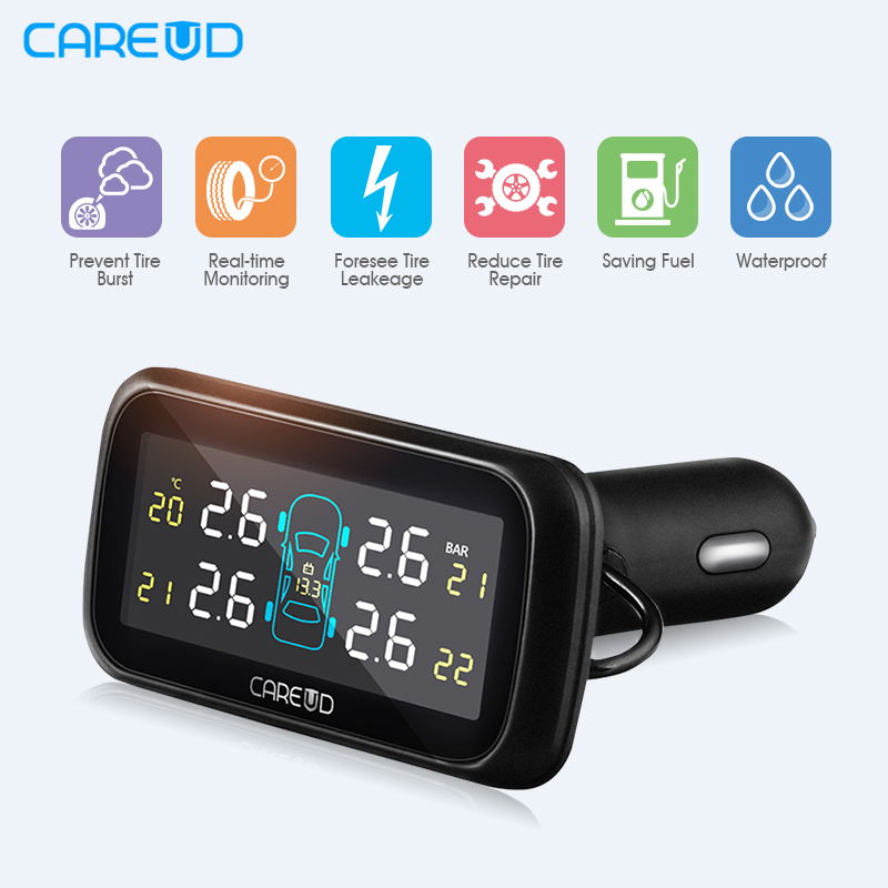 CAREUD U903 Car TPMS Auto Tire Pressure Monitoring System + 4 External Sensors LCD Monitor Cigarette Lighter Socket Universal car wireless digical tpms tire pressure monitoring system with 4 built in sensor auto lcd display embedded monitor