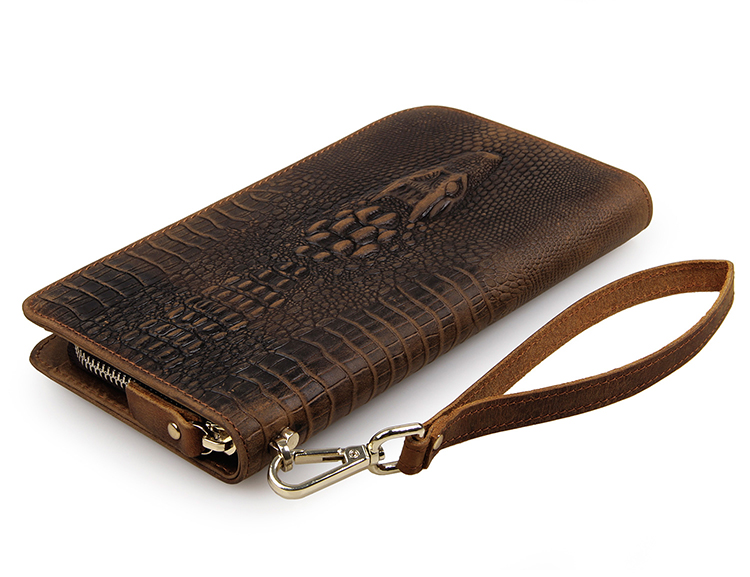 100% Genuine Leather Alligator Pattern Vintage Long Wallet Brown Notecase # 8068R