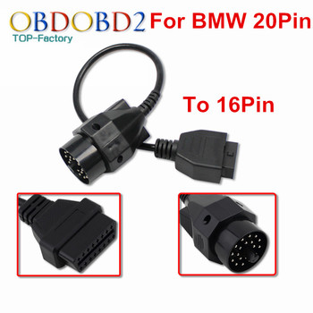 100% Brand New For BMW 20 Pin To OBD2 16 Pin Diagnostic Cable Connector For BMW 20Pin OBD OBDII Adapter For E36 E39 X5 Z3 image