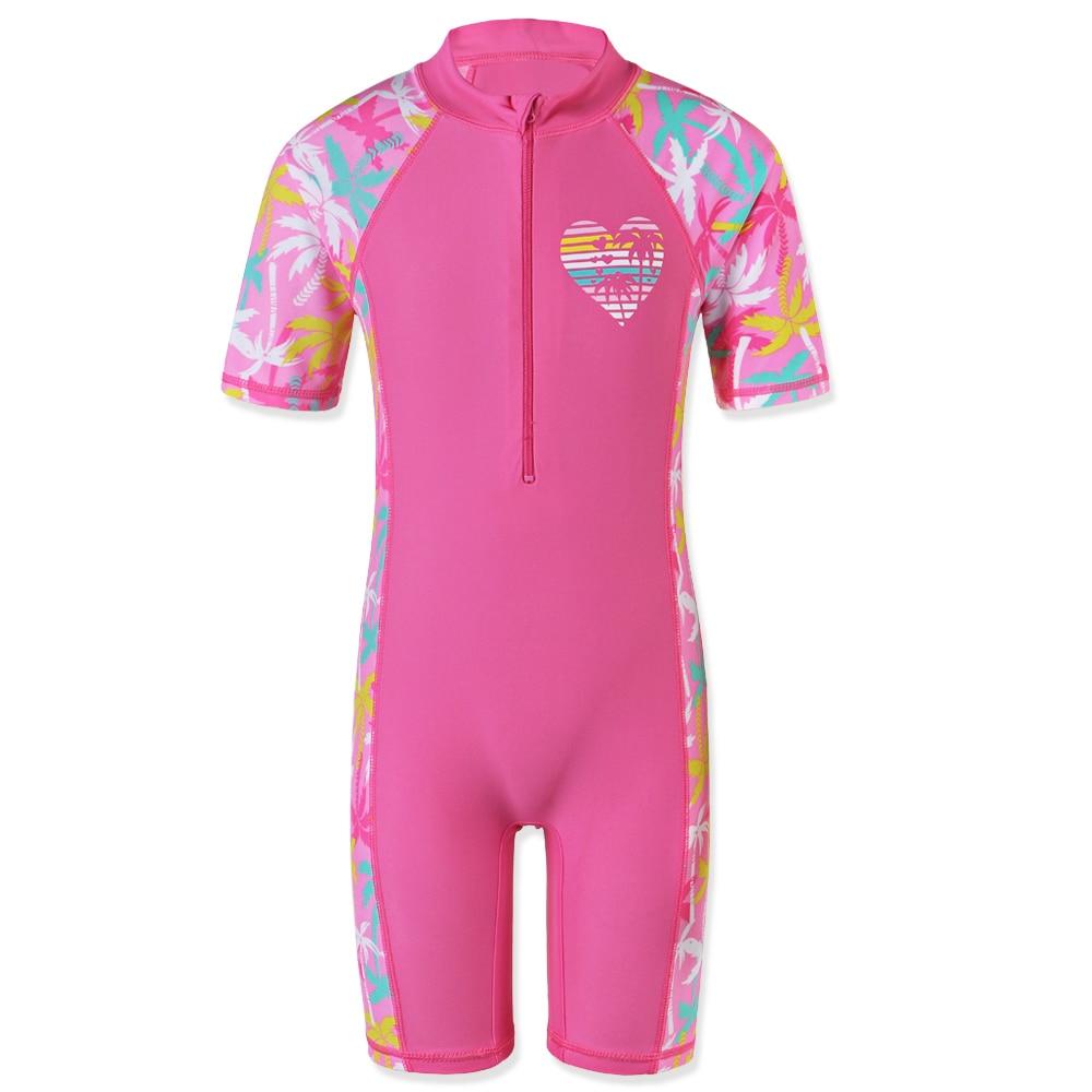 BAOHULU 1-11 Yrs Kids Swimwear Girls Short Sleeve Swimsuit One Piece UPF50+ Rash Guard Baby Girl Swimwear Children Surf Suit