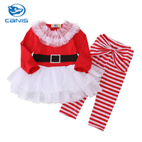 CANIS Brand 2PCS Infant Baby Girl Newborn Cotton Romper Body Suit Tutu Dress Outfits Costume 1