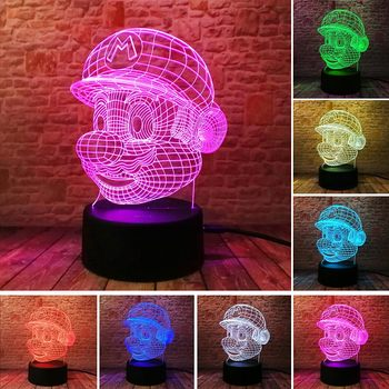 Super Mario Mainan 3D Ilusi LED Lampu Malam Berwarna-warni Berkedip Sulit Light Desk Lapm Super Mario Bross Gambar Model Mainan