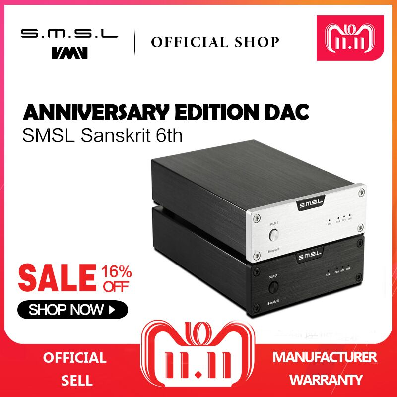 SMSL Sanskrit 6th Anniversary Edition DAC Analog Audio Decoder 32bit/192kHz with USB Optical Coaxial Input Black Silver new version smsl latest 6th sanskrit 32bit 192khz coaxial spdif optical usb dac hifi audio amplifier decoder with power adapter