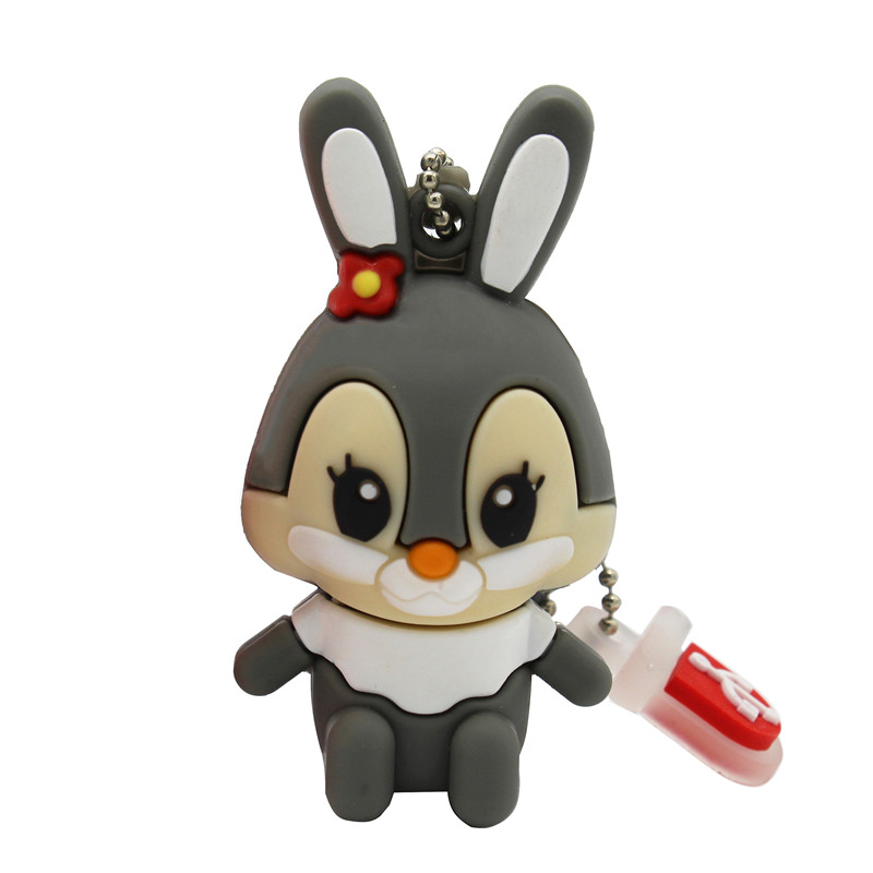 Image 2 - BiNFUL usb flash drive pen drive pink memory stick gray rabbit 8GB 16GB pendrive-in USB Flash Drives from Computer & Office