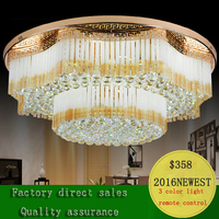 Factory Direct Sale Circular Golden K9 Crystal Ceiling Lamp Modern Concise LED Living Room Bedroom E14