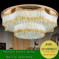 Factory Direct Sale Circular Golden K9 Crystal Ceiling Lamp Modern Concise LED Living Room Bedroom E14