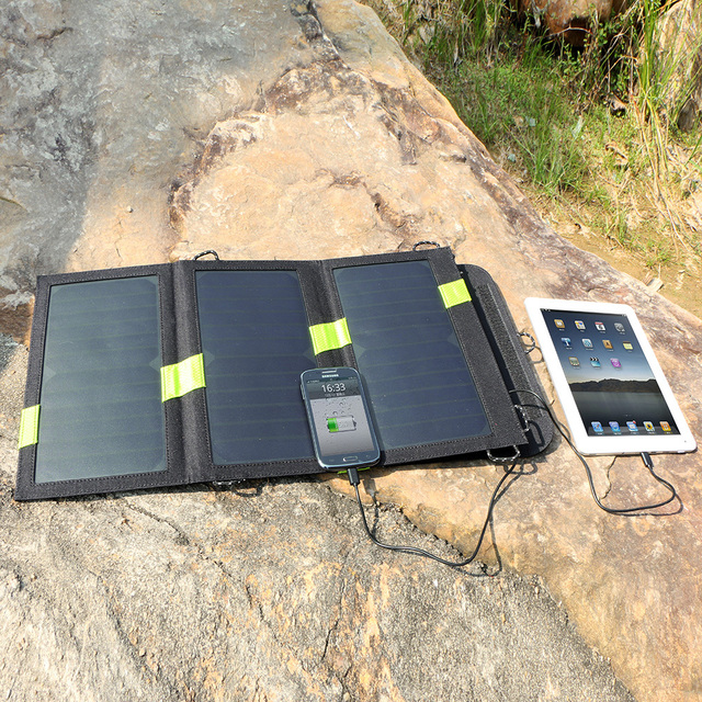 Alta Qualidade 20 W Dual USB Saída 5 V Banco de Energia Solar Carregador de Energia Solar Painel Solar Camping Carregador para Celular telefone