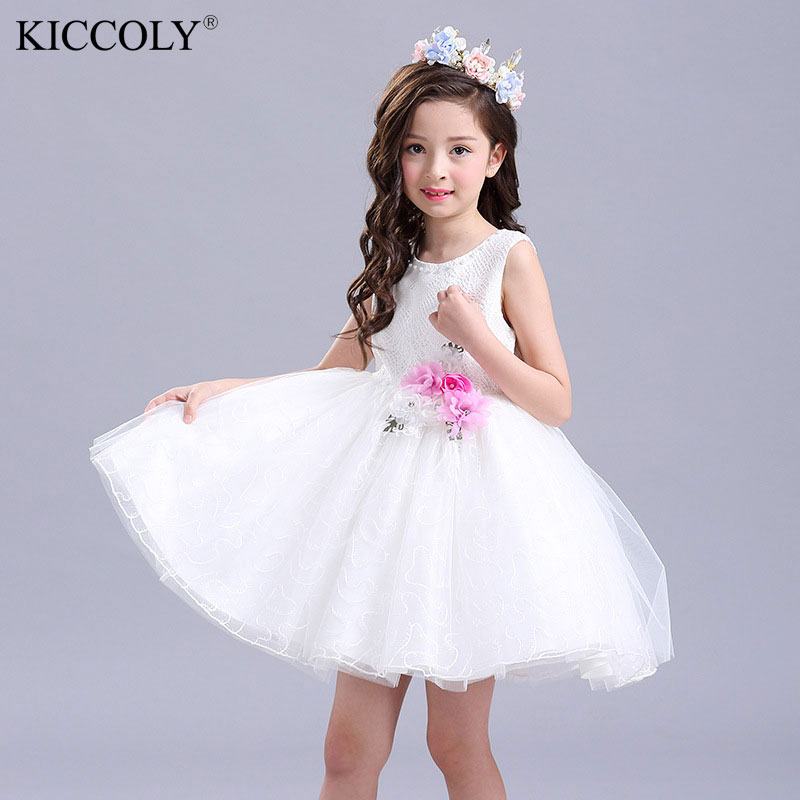 Hot Sale Kids Infant Girl Flower Dress Children Princess Lace Dress Wedding Bridal Tulle Formal Teenage Girl Party Dress summer children clothes princess flower print kids beach dress infant formal birthday party girl white dress family match outfit
