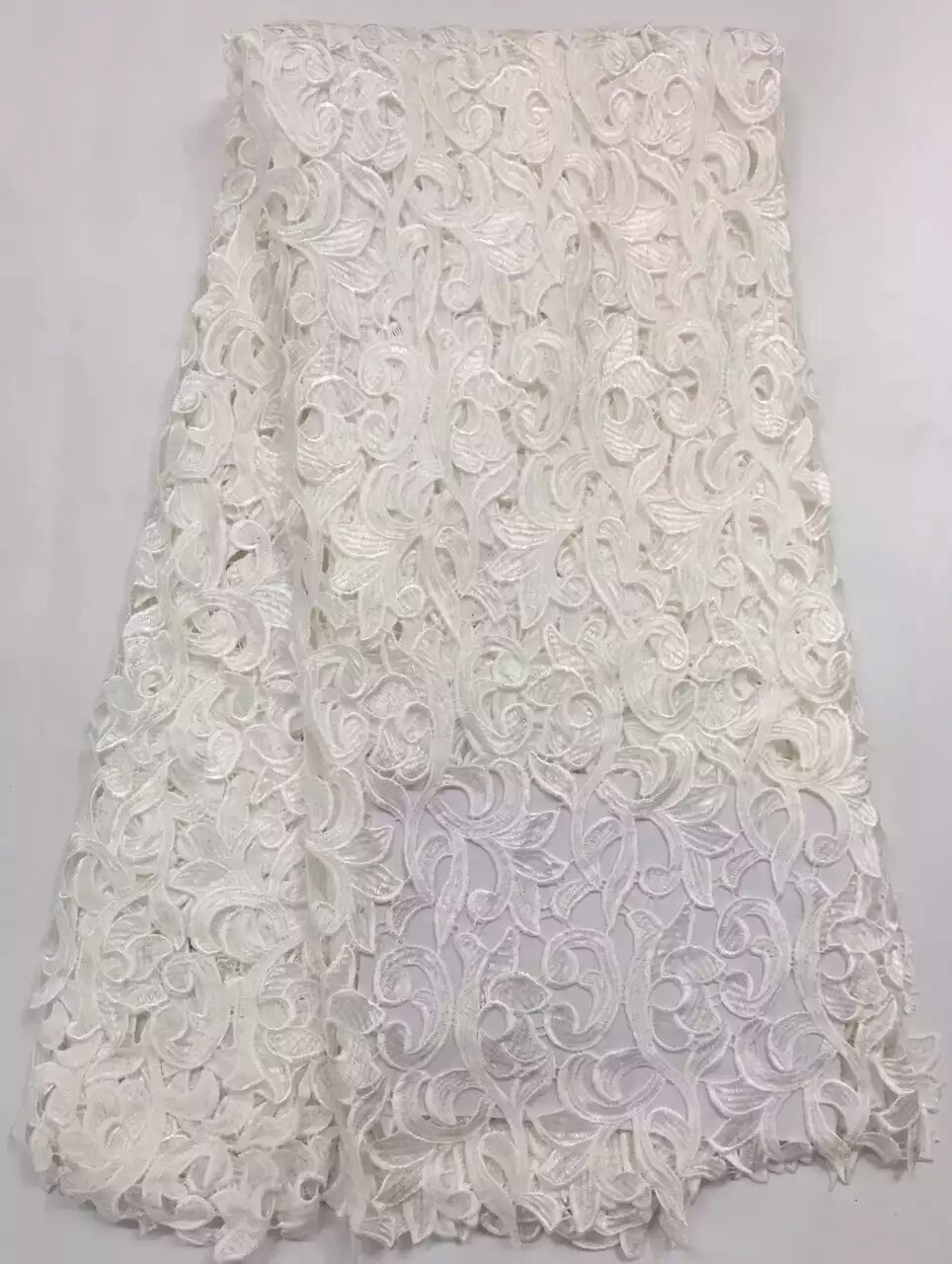 White cord lace 5yard lot african cord lace fabrics high for White lace fabric for wedding dresses