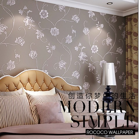ФОТО 10m*53cm bedroom Beautiful lotus flower is aspersed gold ornament Environmental protection non-woven,wall stickers wall paper