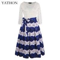Yathon frauen chic blue print weiß spitze dress pin up 2017 damen flare stickerei boho lang casual büroarbeit party kleider