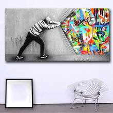 hand painted Graffiti Art Wall Picture Behind The Curtain Home Decor On Canvas Modern oil Painting for office