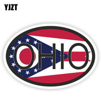 YJZT 14.5CM*9.7CM Funny Ohio STATE Country Code Car Sticker Helmet Decal 6-1586 image